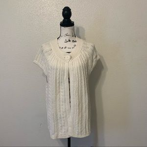 Westbound Ivory Crochet Cable Knit Sweater